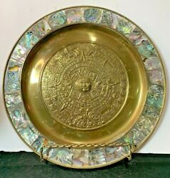 Aztec Mayan Sun Calendar Mother Of Pearl Embossed Brass Wall Plate Tray 11 Mop