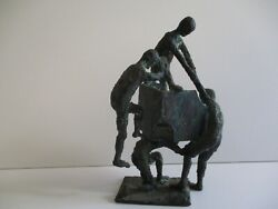 Vintage Solid Bronze Metal Sculpture Abstract Expressionism Modernism People
