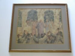 Vintage Antique Painting Pontius Pilate Talking To Crown Roman Modernism Mystery