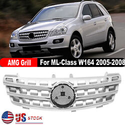 For Mercedes-benz Ml-class W164 Amg Style 2005-2008 Grille Grill Chrome Silver