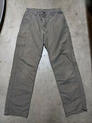 Mens 34x36 Brown Carpenter Pants Dungaree Fit Relaxed Straight Leg