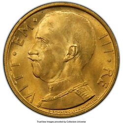 Italy 1931-r Yr. Ix 50 Lire Uncirculated Gold Coin Pcgs Certified Ms64+