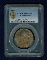 Great Britain Victoria 1888 Penny, Choice Uncirculated, Certified Pcgs Ms64-rb