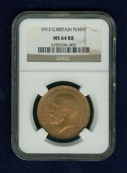 Great Britain George V 1913 Penny, Choice Uncirculated, Certified Ngc Ms-64-rb