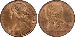 Great Britain Victoria 1862 Penny, Choice Uncirculated, Certified Pcgs Ms64-rb
