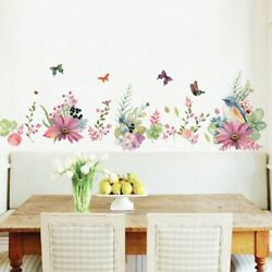 Removable Flowers Home Decor Wall Sticker Bedroom Plants Decoration Wall Decal