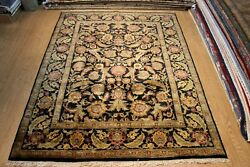 8' X 10' Handmade Hand Knotted 8x10 Ft. Rug Black And Gold Sage Green Carpet