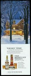 1959 Victorian House In Snow Photo Old Kentucky Tavern Bourbon Whiskey Print Ad