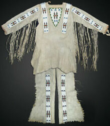 Native American Sioux Style Suede Leather Fringes And Beads Suit War Shirt And Pants