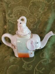 Vintage Elephant And Baby Trunk Up Good Luck Chinese Teapot