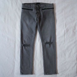 Undercover 14ss Grey Ripped Knee Zipper Pants