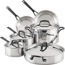 Kitchenaid 5-ply Clad Polished Stainless Steel Cookware Pots And Pans Set, 10 Pi