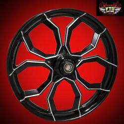 2008-2021 Harley Black Contrast 21 Inch Front Wheel Tire And Rotors Widow