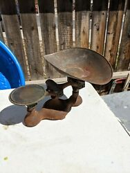 Antique Fairbanks No. 4 Cast Iron Mercantile Candy General Store Scale Large Pan