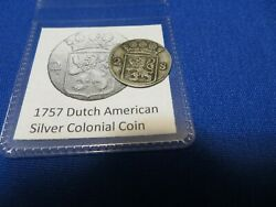 1757 Silver Early American Colonial Coin Before Us Minted Coins Free Shipping