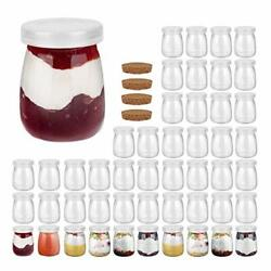 4 Oz -pack Clear Glass Pudding Jars With Pe Lids, Glass Containers 4oz 48