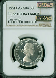 1961 Canada 50 Cents Ngc Pl68 Ultra Heavy Cam Mac Finest Graded Spotless