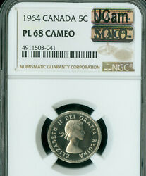 1964 Canada 5 Cents Ngc Pl68 Cameo Ucam Mac Solo Finest Spotless 1 In 10,000