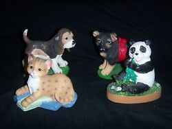 Lot Of 4 Greenbrier Resin Animal Figurines Dogs , Panda , Cat Neat Collectibles