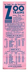 New Haven Railroad Broadside Zoo Trains To Bronx Park Zoo 1967 Free Shipping