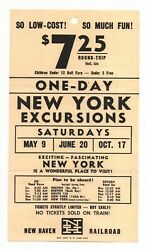New Haven Railroad Broadside One-day Excursion New York 1959 Free Shipping
