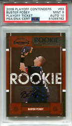 Buster Posey Autographed 2008 Panini Playoff Contenders Rookie Card Psa