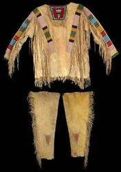 Native American Sioux Style Suede Leather Fringes And Beads War Shirt And Leggings