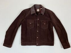 Vintage Clothing Lvc 1960andrsquos Suede Trucker Jacket Size L Chocolate Brownie