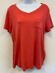Relativity Plus Size Tee Sz 1x Red Short Sleeve V Neck Cotton Pocket Casual Top