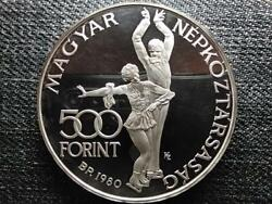 Hungary Xiii. Winter Olympics Lake Placid 500 Forint .640 Silver Coin 1980 Bp Pp