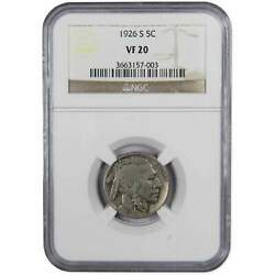 1926 S Indian Head Buffalo Nickel 5 Cent Piece Vf 20 Ngc 5c Us Coin Collectible