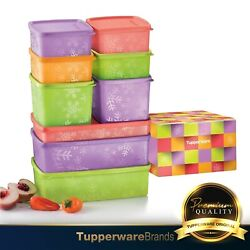 Tupperware Snowflake Square Round Set / Containers / Canister / Gift Box 9pcs