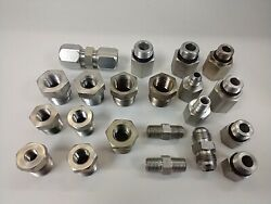 Assorted Steel Adapters And Couplers 1/8 To 5/8 Lot Of 21
