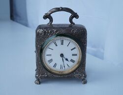 Antique Victorian English Sterling Silver Enamel Carriage Clock