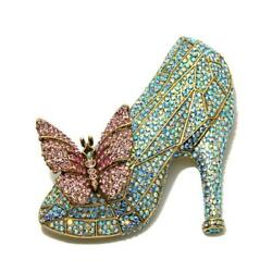 Signed Heidi Daus If The Shoe Fits Glass Slipper Pin Crystals Must