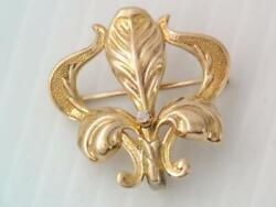 Antique Victorian Solid 10k Gold And Diamond French Fluer Di Lis Pin Watch Clip