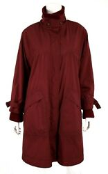 Loro Piana Burgundy Cashmere Knit Lined Storm System Hooded Coat 44