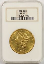 1904 20 Ngc/old Holder Ms 62 Liberty Head Gold Double Eagle