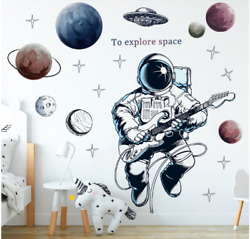 Astronaut Pilot Wall Sticker Cartoon Space Planet Wall Decal Removable For Home