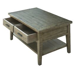 Ashford 40 Reclaimed Wood Coffee Table With Storage Shelf And Two Drawers