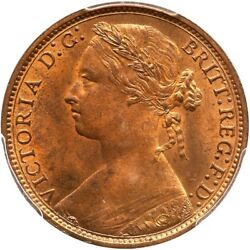 Great Britain Victoria 1875 Penny, Choice Uncirculated, Certified Pcgs Ms64-rb