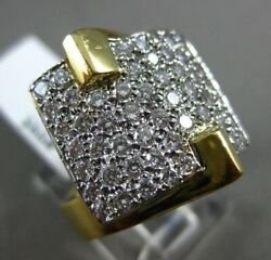 Estate Large 1.65ct Diamond 18kt White And Yellow Gold 3d Pave Square Fun Ring 995