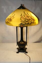 Vintage Early 1900and039s Moe Bridges Reversed Painted Glass Table Lamp