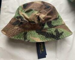 Polo Ralph Lauren CAMO CAMOUFLAGE Logo Bucket Hat Cap Green BRAND NEW WITH TAGS $64.88