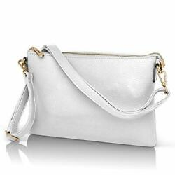 White Clutch Purse Wristlet for Women Faux Leather Over the Shoulder Crossb... $40.64