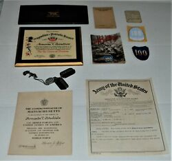 Wwii 100th Infantry Dog Tags Honorable Discharge Certificate Patch Decal Etc