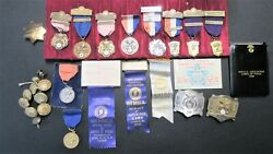 Vintage Hammond Police Lot Of Shooting Awards Medals Ribbonsbuttons Belt Buckle