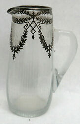 Vintage Sterling Silver Overlay Crystal 9 3/4 Water Pitcher