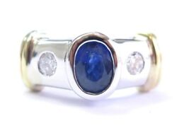 Oval Blue Sapphire And Diamond Three Stone Ring 18kt Two-tone Gold 1.76ct