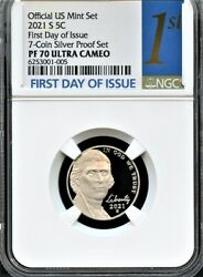 2021 S Nickel Fdoi From 7-coin Silver Set Ngc Pf70 Ultra Cameo 1st